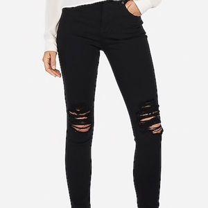 Black Ripped Jeans - Legging Mid Rise